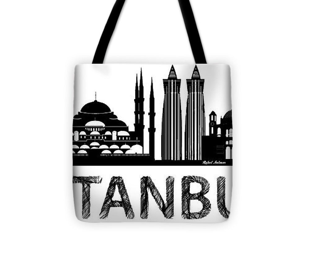 Tote Bag - Istanbul Silhouette Sketch In Black And White