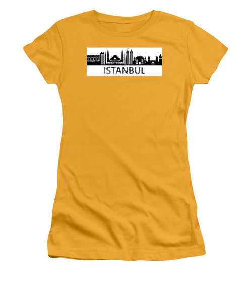 Women's T-Shirt (Junior Cut) - Istanbul Silhouette Sketch In Black And White
