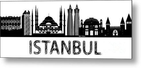 Metal Print - Istanbul Silhouette Sketch In Black And White