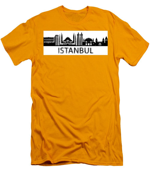 Men's T-Shirt (Slim Fit) - Istanbul Silhouette Sketch In Black And White