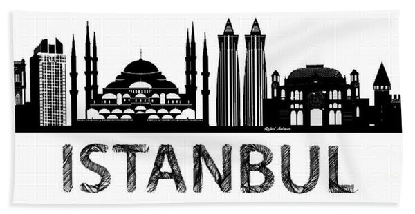 Towel - Istanbul Silhouette Sketch In Black And White