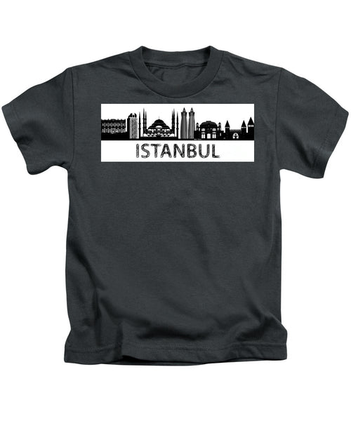 Kids T-Shirt - Istanbul Silhouette Sketch In Black And White
