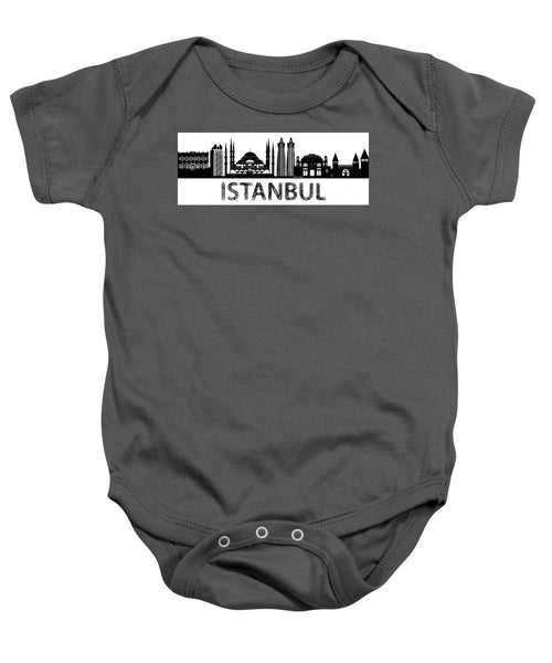 Baby Onesie - Istanbul Silhouette Sketch In Black And White