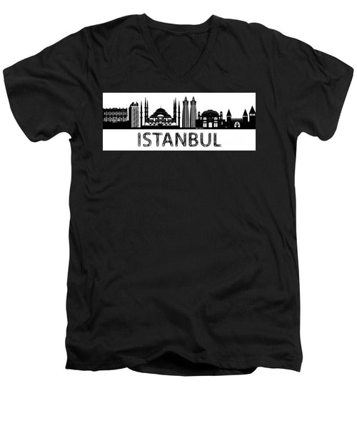 Men's V-Neck T-Shirt - Istanbul Silhouette Sketch In Black And White