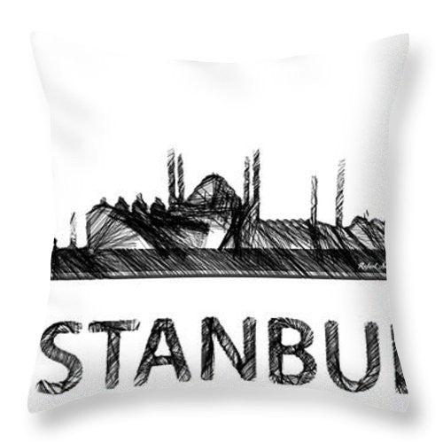 Throw Pillow - Istanbul Silouhette Sketch