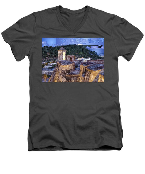 Men's V-Neck T-Shirt - La Popa Hill Convent And Saint Philip Castle, Cartagena Colombia