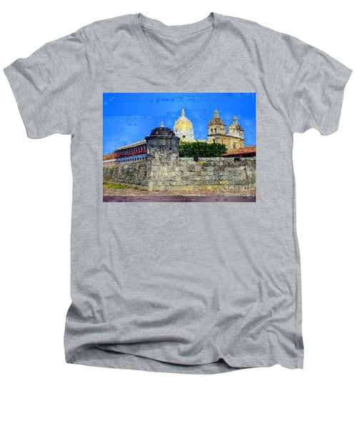 Men's V-Neck T-Shirt - La Popa Hill Convent And Saint Philip Castle, Cartagena De Indi