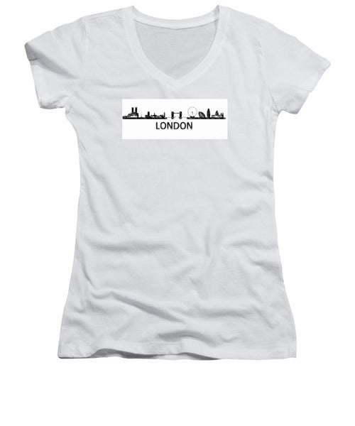 Women's V-Neck T-Shirt (Junior Cut) - London Silouhette Sketch