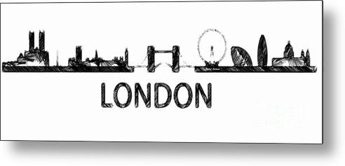 Metal Print - London Silouhette Sketch