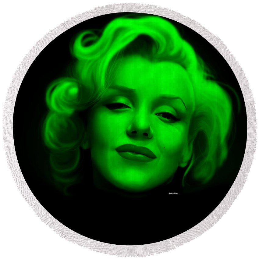 Round Beach Towel - Marilyn Monroe In Green. Pop Art