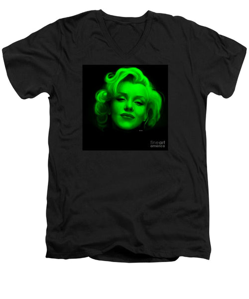 Men's V-Neck T-Shirt - Marilyn Monroe In Green. Pop Art