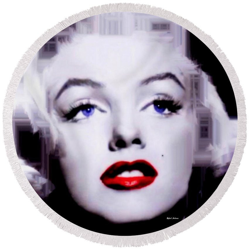 Round Beach Towel - Marilyn Monroe In Black And White. Pop Art