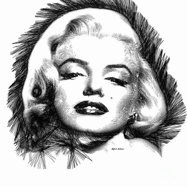 Art Print - Marilyn Monroe Sketch In Black And White 2