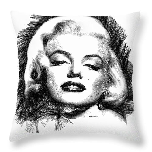 Throw Pillow - Marilyn Monroe Sketch In Black And White 2