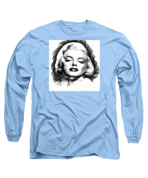 Long Sleeve T-Shirt - Marilyn Monroe Sketch In Black And White 2