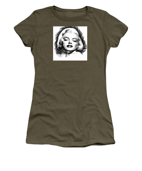 Women's T-Shirt (Junior Cut) - Marilyn Monroe Sketch In Black And White 2
