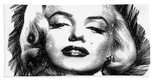 Towel - Marilyn Monroe Sketch In Black And White 2
