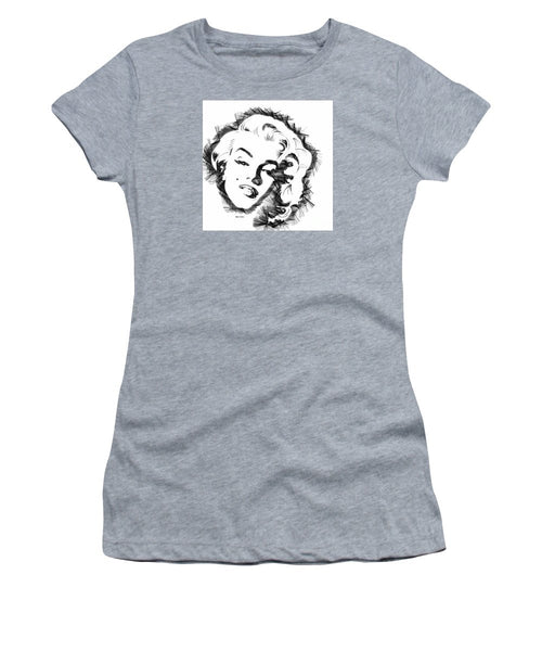 Women's T-Shirt (Junior Cut) - Marilyn Monroe Sketch In Black And White