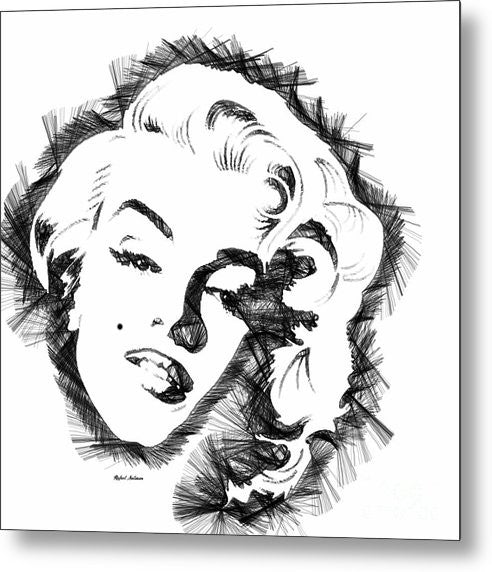 Metal Print - Marilyn Monroe Sketch In Black And White