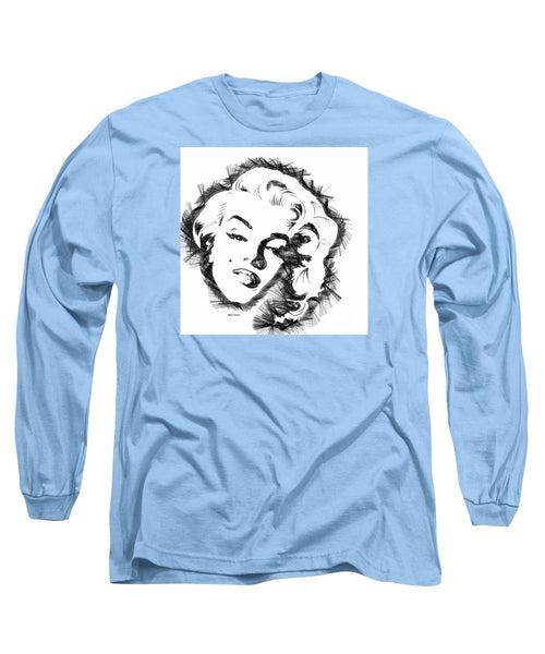 Long Sleeve T-Shirt - Marilyn Monroe Sketch In Black And White