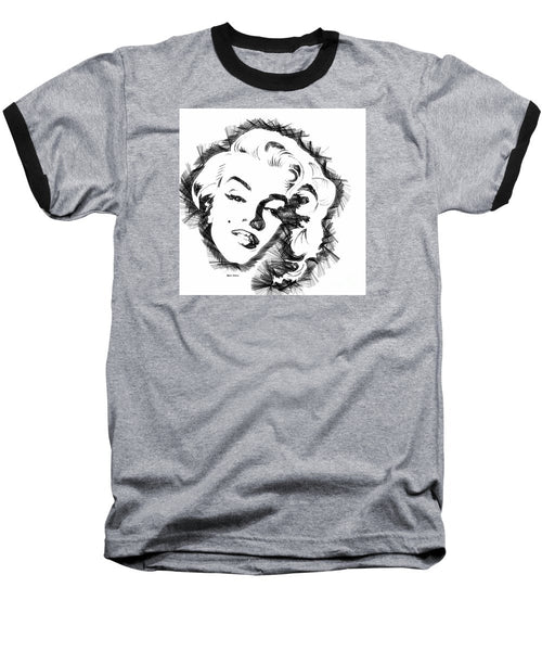Baseball T-Shirt - Marilyn Monroe Sketch In Black And White