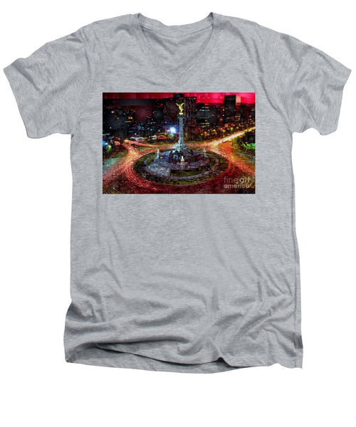 Men's V-Neck T-Shirt - Mexico City D.f At Night