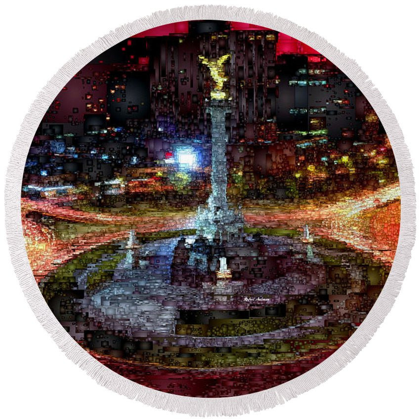 Round Beach Towel - Mexico City D.f At Night