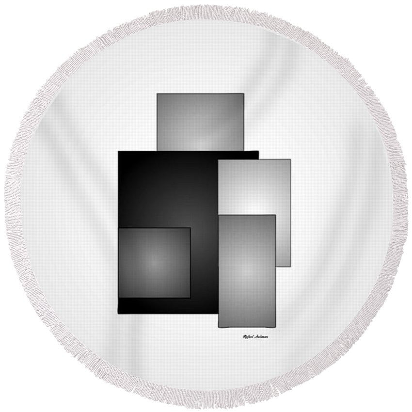 Round Beach Towel - Minimal Black And White