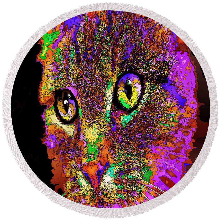 Round Beach Towel - Muffin The Cat. Pet Series