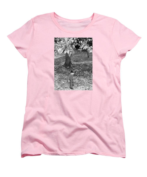 Women's T-Shirt (Standard Cut) - My First Walk In The Woods - Black And White