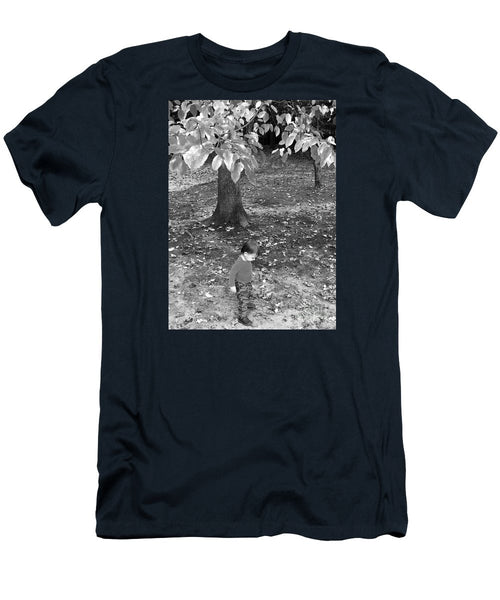 Men's T-Shirt (Slim Fit) - My First Walk In The Woods - Black And White