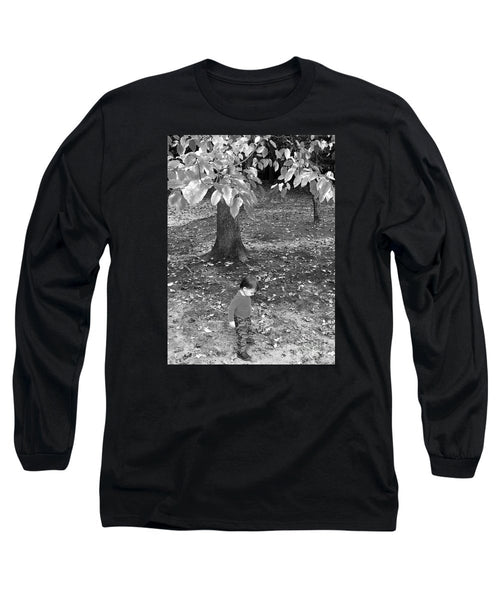 Long Sleeve T-Shirt - My First Walk In The Woods - Black And White