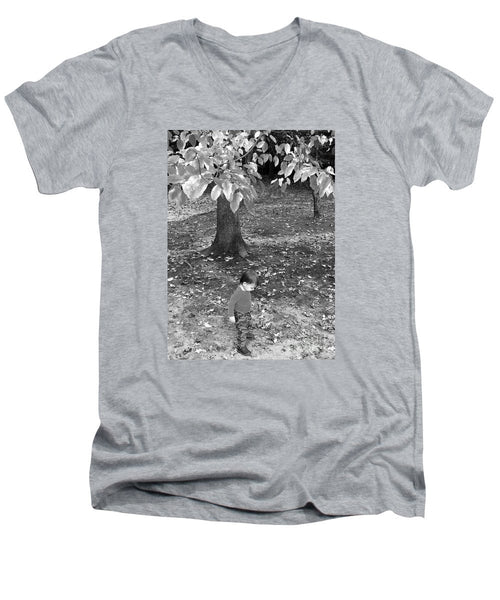 Men's V-Neck T-Shirt - My First Walk In The Woods - Black And White