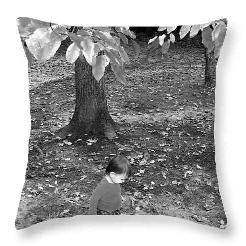 Throw Pillow - My First Walk In The Woods - Black And White