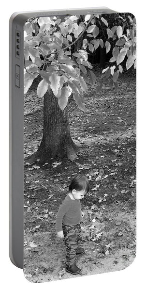 Portable Battery Charger - My First Walk In The Woods - Black And White