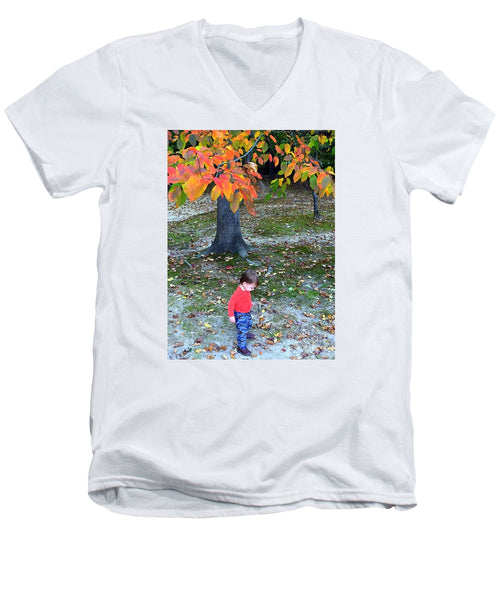Men's V-Neck T-Shirt - My First Walk In The Woods