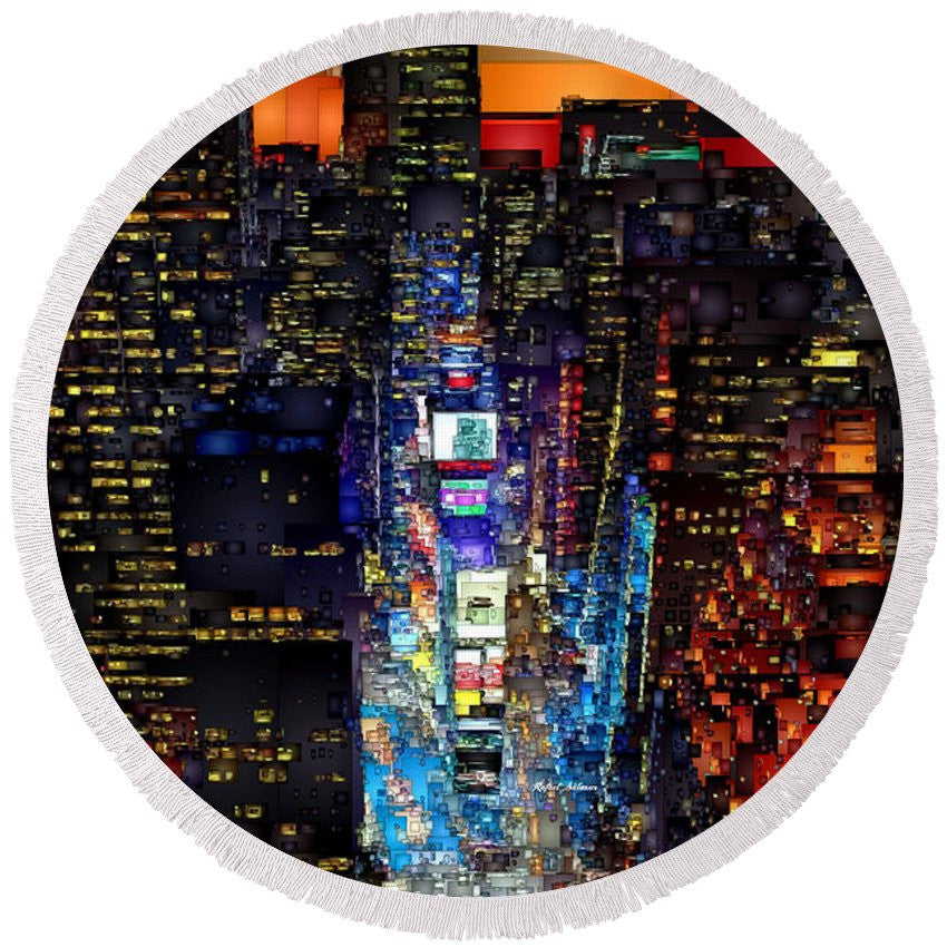 Round Beach Towel - New York City - Times Square