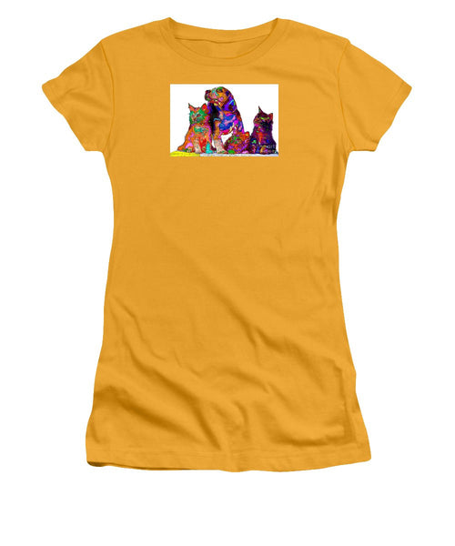 Women's T-Shirt (Junior Cut) - One Big Happy Family. Pet Series