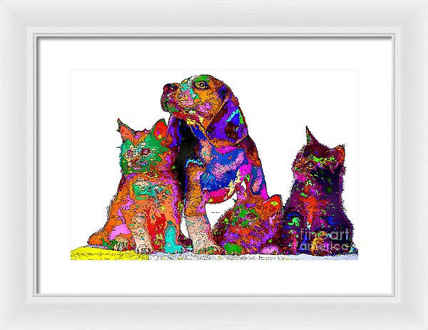 Framed Print - One Big Happy Family. Pet Series