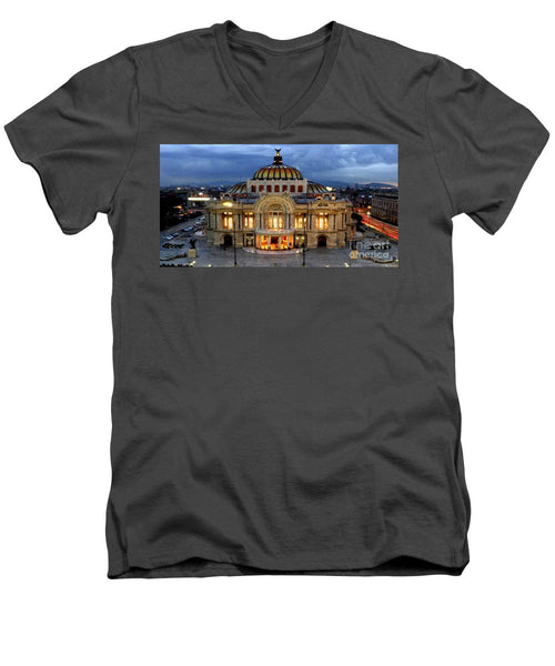 Men's V-Neck T-Shirt - Palacio De Bellas Artes Mexico