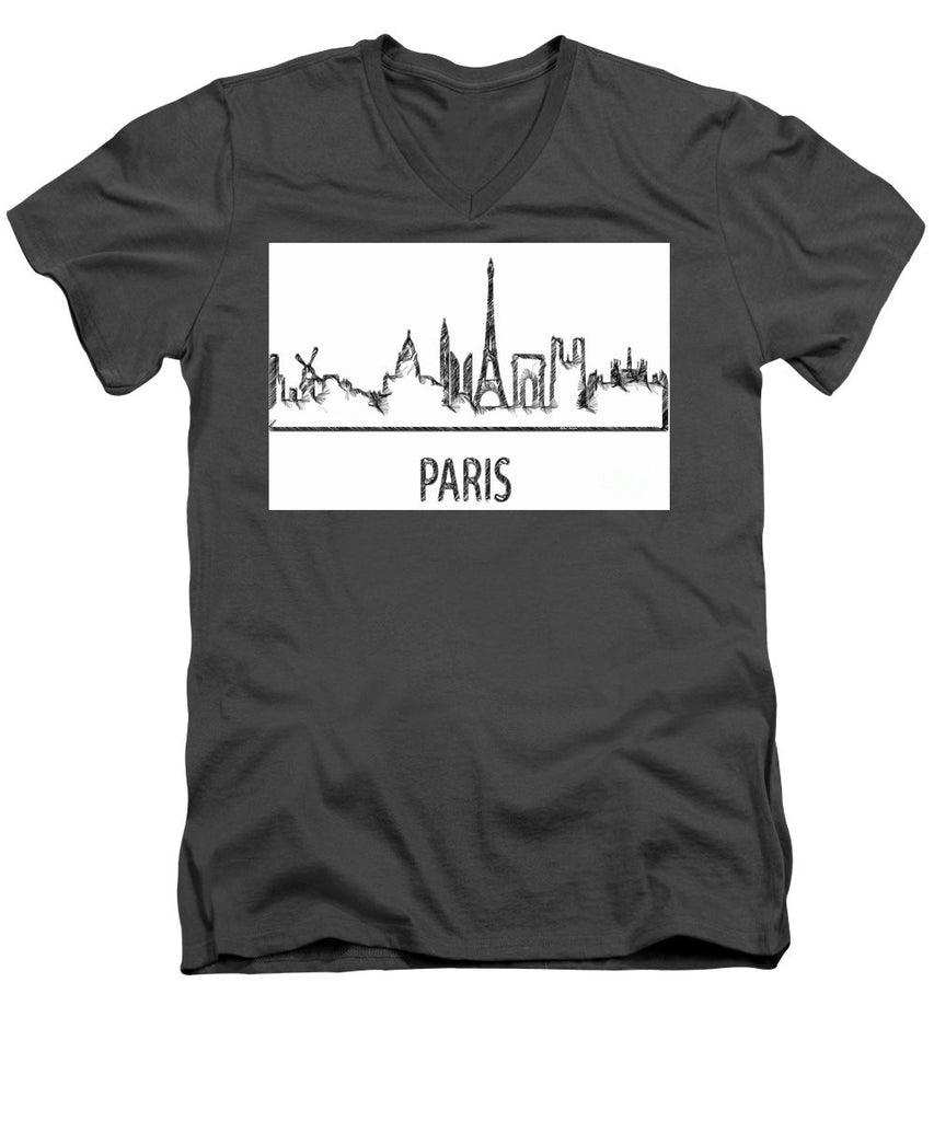 Men's V-Neck T-Shirt - Paris Silouhette Sketch
