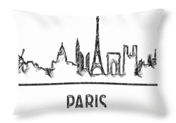 Throw Pillow - Paris Silouhette Sketch