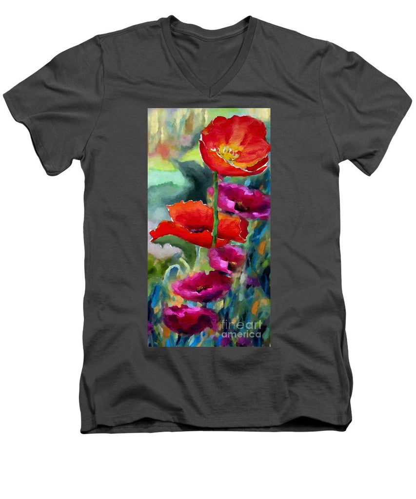 Men's V-Neck T-Shirt - Poppies In Watercolor