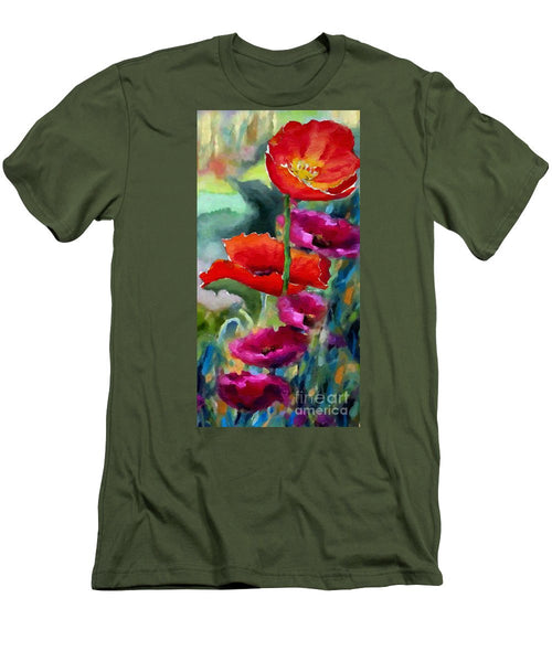 Men's T-Shirt (Slim Fit) - Poppies In Watercolor