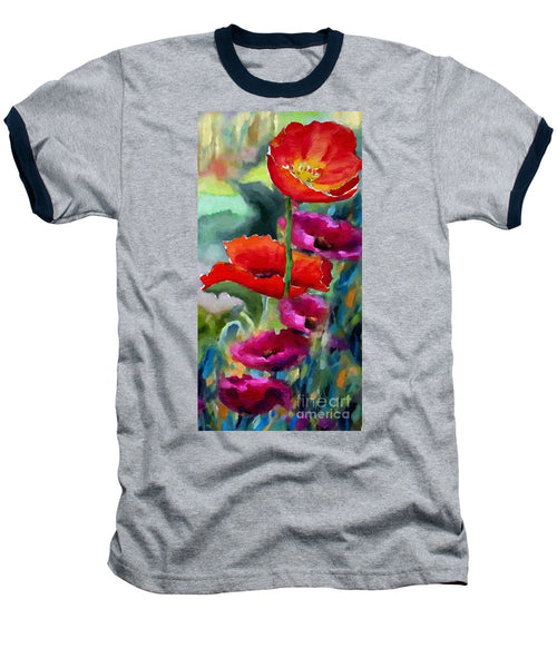 Baseball T-Shirt - Poppies In Watercolor