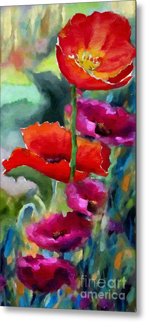 Metal Print - Poppies In Watercolor