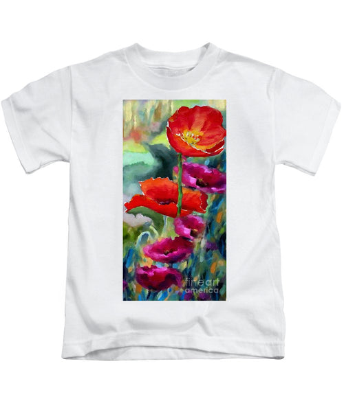 Kids T-Shirt - Poppies In Watercolor