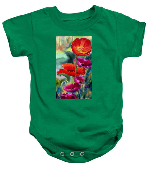 Baby Onesie - Poppies In Watercolor
