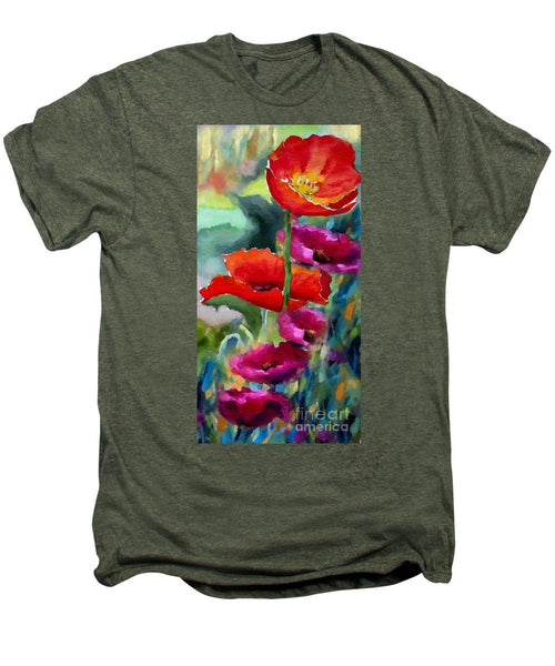 Men's Premium T-Shirt - Poppies In Watercolor