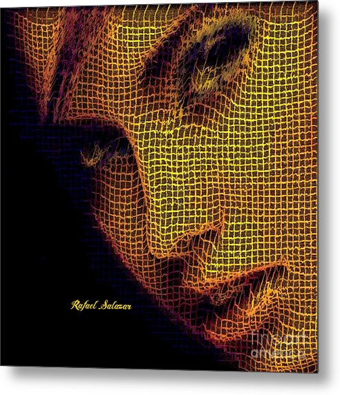 Portrait In Mesh - Metal Print